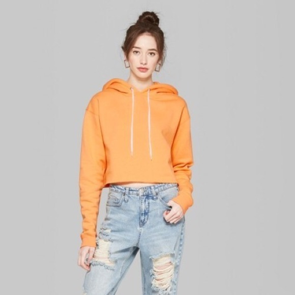 Wild Fable Tropical Orange Cropped Hoodie